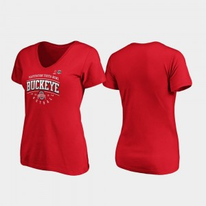 Scarlet Tackle V-Neck Ohio State Buckeyes 2019 Fiesta Bowl Bound College T-Shirt Ladies