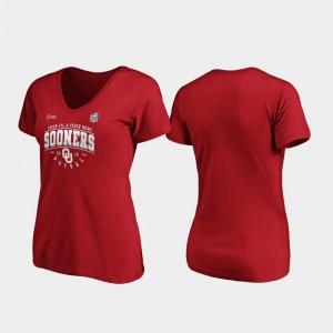 Crimson Oklahoma 2019 Peach Bowl Bound Ladies College T-Shirt Tackle V-Neck