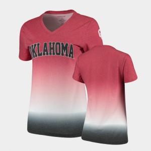 Sooner Crimson Women's Ombre V-Neck College T-Shirt