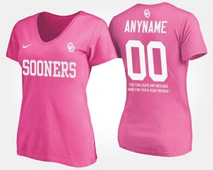 Oklahoma #00 With Message Pink College Customized T-Shirts For Women