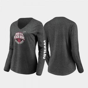 Women's College T-Shirt Stiff Arm Long Sleeve V-Neck 2019 Peach Bowl Bound Heather Charcoal Oklahoma Sooners