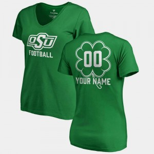 #00 College Custom T-Shirt V-Neck Dubliner Fanatics Oklahoma State University For Women's St. Patrick's Day Kelly Green