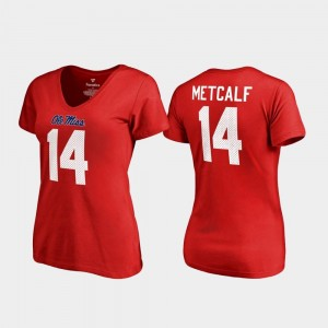 Legends V-Neck Name & Number Womens #14 DK Metcalf College T-Shirt Red Rebels