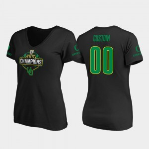For Women #00 Black College Custom T-Shirts 2019 PAC-12 North Football Division Champions V-Neck University of Oregon