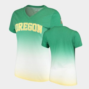 Green V-Neck College T-Shirt For Women's Ombre Oregon