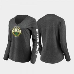Womens University of Oregon Stiff Arm Long Sleeve V-Neck College T-Shirt 2020 Rose Bowl Bound Heather Charcoal