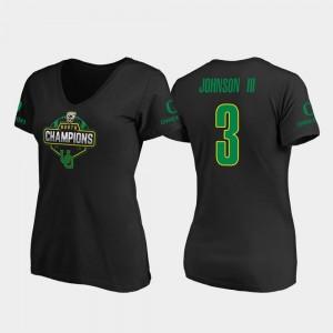 2019 PAC-12 North Football Division Champions #3 UO Ladies Johnny Johnson III College T-Shirt Black V-Neck