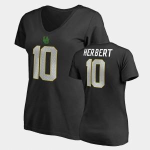 Name & Number V-Neck #10 Oregon Legends Justin Herbert College T-Shirt Women Black