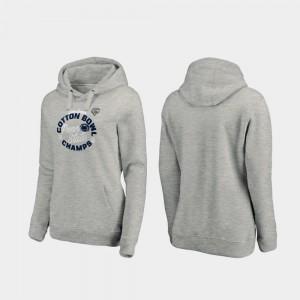 College Hoodie Heather Gray PSU 2019 Cotton Bowl Champions Ladies Curl Logo