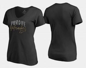 V-Neck For Women Purdue University Black Graceful College T-Shirt