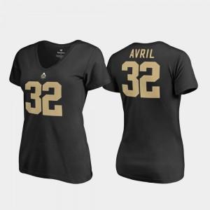 Purdue University #32 Black V-Neck Women Legends Cliff Avril College T-Shirt