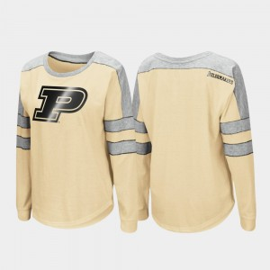 College T-Shirt For Women Purdue Gold Trey Dolman Long Sleeve