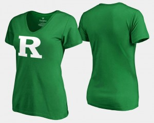 Kelly Green For Women's Rutgers St. Patrick's Day White Logo College T-Shirt