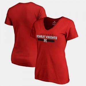 Scarlet V-Neck College T-Shirt Rutgers University For Women's Team Strong