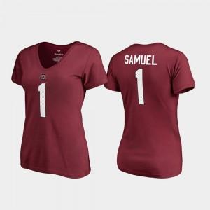 Deebo Samuel College T-Shirt V-Neck Name & Number South Carolina #1 Garnet Ladies Legends