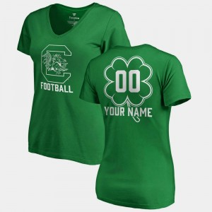 College Customized T-Shirts USC Gamecock For Women's St. Patrick's Day V-Neck Dubliner Fanatics Kelly Green #00