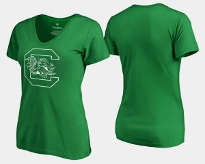St. Patrick's Day South Carolina For Women's White Logo Kelly Green College T-Shirt