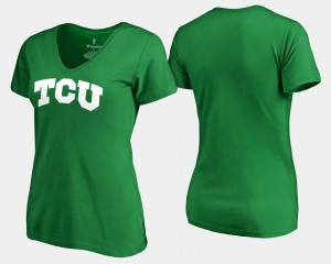 St. Patrick's Day College T-Shirt Kelly Green Texas Christian University For Women White Logo
