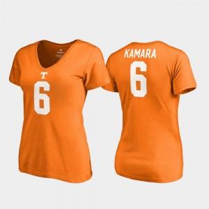 Ladies Alvin Kamara College T-Shirt Legends Tennessee Vols Tennessee Orange #6 V-Neck