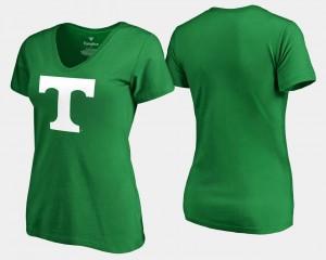 Kelly Green White Logo St. Patrick's Day UT VOL College T-Shirt For Women