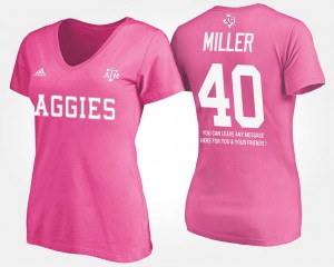 For Women's Von Miller College T-Shirt Pink #40 Texas A&M With Message