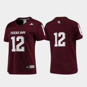 Replica A&M Ladies #12 Football College Jersey Maroon
