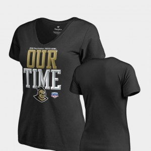 College T-Shirt For Women's UCF Knights Black 2019 Fiesta Bowl Bound Counter V-Neck