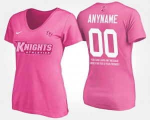 #00 College Customized T-Shirt Womens Pink University of Central Florida With Message