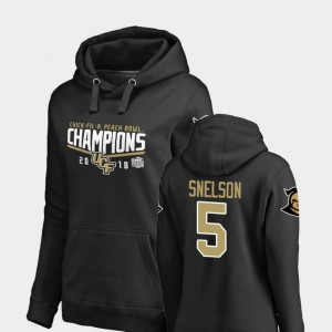 Black Dredrick Snelson College Hoodie #5 UCF Knights Womens Goal 2018 Peach Bowl Champions