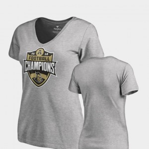 For Women's College T-Shirt UCF Knights 2018 AAC Football Champions V-Neck Heather Gray