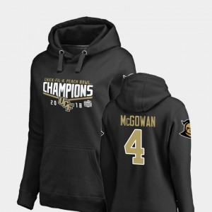 Black Taj McGowan College Hoodie UCF #4 Women's Goal 2018 Peach Bowl Champions