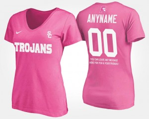 Trojans #00 College Customized T-Shirt Women's With Message Pink