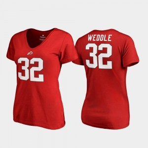 Eric Weddle College T-Shirt Legends Utes V-Neck #32 Women's Red