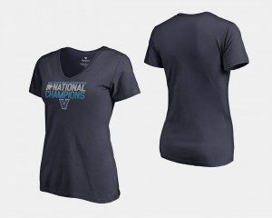 2018 Dribble V-Neck For Women's Wildcats College T-Shirt Basketball National Champions Navy