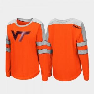 Virginia Tech Trey Dolman College T-Shirt Ladies Long Sleeve Orange