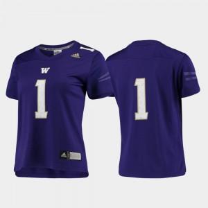 #1 College Jersey UW Huskies Womens Football Replica Purple