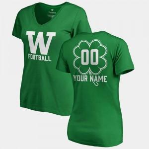 Women's Kelly Green #00 College Customized T-Shirt V-Neck Dubliner Fanatics St. Patrick's Day Washington Huskies