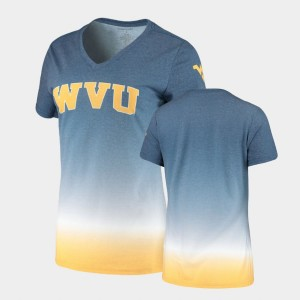 Ombre Navy West Virginia Mountaineers Women's College T-Shirt V-Neck