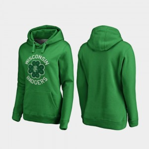 Kelly Green St. Patrick's Day Wisconsin Badger College Hoodie For Women Luck Tradition