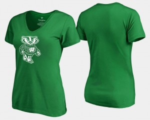 College T-Shirt Kelly Green Badger For Women's White Logo St. Patrick's Day