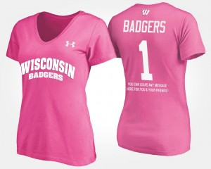 No.1 Short Sleeve With Message #1 Wisconsin Badgers College T-Shirt For Women's Pink