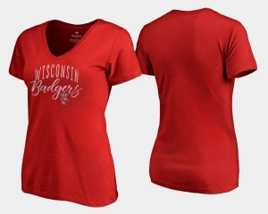 Women Red College T-Shirt Graceful UW V-Neck