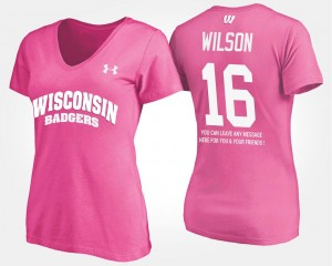 #16 Russell Wilson College T-Shirt Wisconsin Badgers Womens With Message Pink
