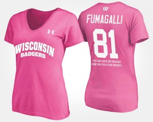 Wisconsin Badgers Pink #81 With Message Troy Fumagalli College T-Shirt Ladies