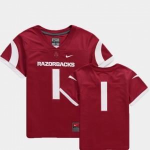 Team Replica Youth(Kids) Cardinal #1 Arkansas College Jersey Football