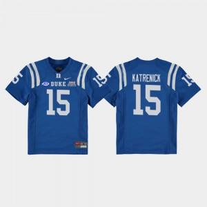 Football Game Youth(Kids) #15 2018 Independence Bowl Chris Katrenick College Jersey Royal Duke Blue Devils