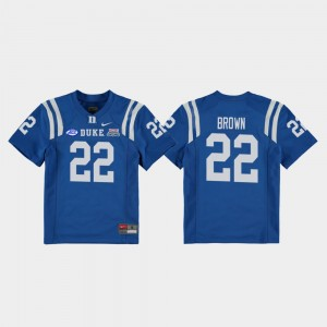 2018 Independence Bowl Duke University #22 Youth(Kids) Football Game Brittain Brown College Jersey Royal