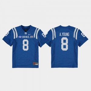 Aaron Young College Jersey Royal 2018 Independence Bowl Blue Devils #8 Kids Football Game
