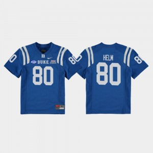 Football Game Youth Duke Blue Devils 2018 Independence Bowl Daniel Helm College Jersey #80 Royal