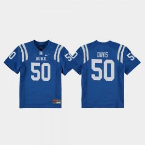 Royal #50 Austin Davis College Jersey Replica Duke Blue Devils Football For Kids